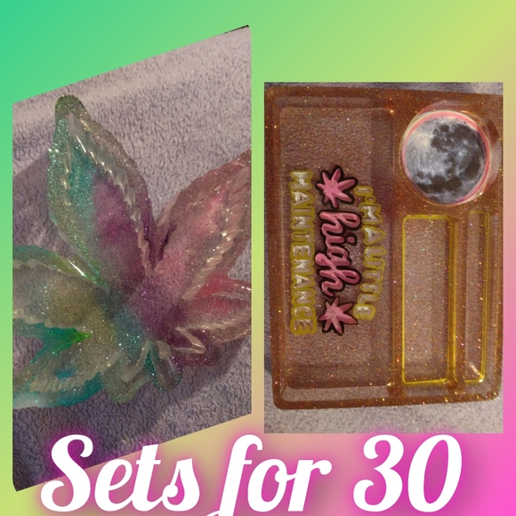 Handmade tray and ashtrays